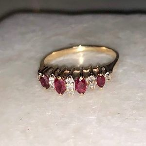10k Gold Diamond and Ruby Ring
